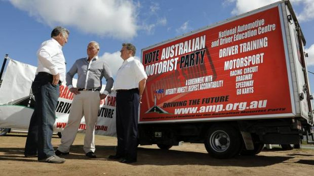 The Australian Motorist Party Candidates Chic Henry, Burl Doble and David Cumbers chatting after the policy launch in ...