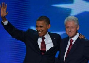 No sign of old animosities ... Barack Obama and Bill Clinton.