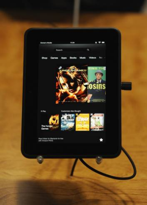 "The new Kindle Fire HD 7"" on display at Amazon's Kindle Fire event."