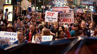 Protesters at a rally against job cuts and the slashing of funding for health and services by the queensland Government ...