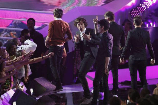 Harry Styles of One Direction reacts after the band won best pop video for <i>What Makes You Beautiful</i>.