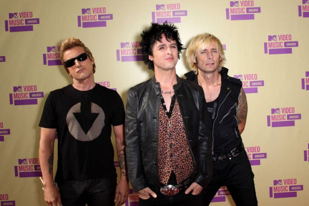 Tre Cool, Billie Joe Armstrong and Mike Dirnt of Green Day.