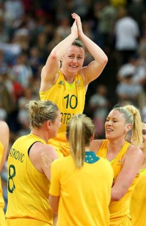 Kristi Harrower is chaired by her teammates at the London Olympics after Australia defeated Russia.