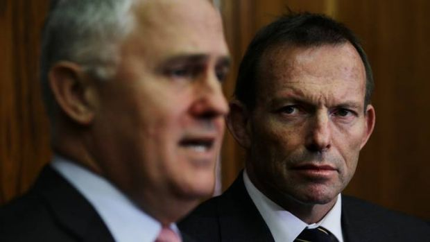 Tony Abbott (right) reiterated that he had been comfortable with Malcolm Turnbull's speech.