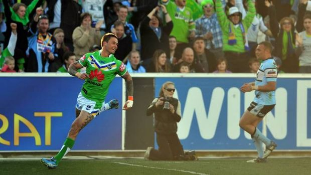 Sandor Earl celebrates his second try against the Sharks.