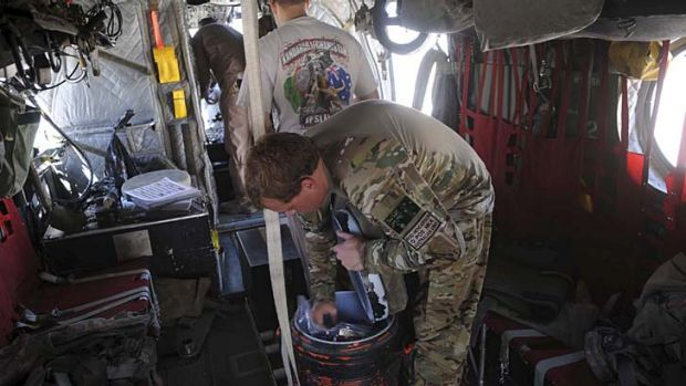 Makeshift ... an esky onboard a Chinook helicopter.