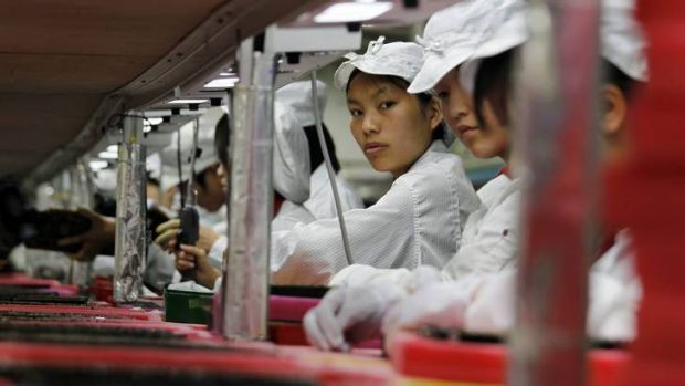 Workers at a Foxconn factory in southern China's Guangdong province.