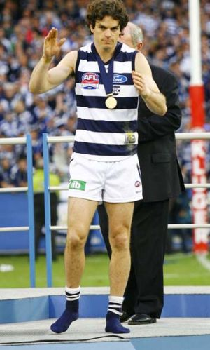 Matthew Scarlett after Geelong won the 2007 grand final.