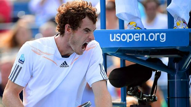 Andy Murray reacts during his semi-final against Tomas Berdych.