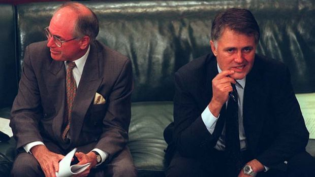 Opposite sides of the fence ... John Howard and Malcolm Turnbull at the Australian Constitutional Convention in 1998.