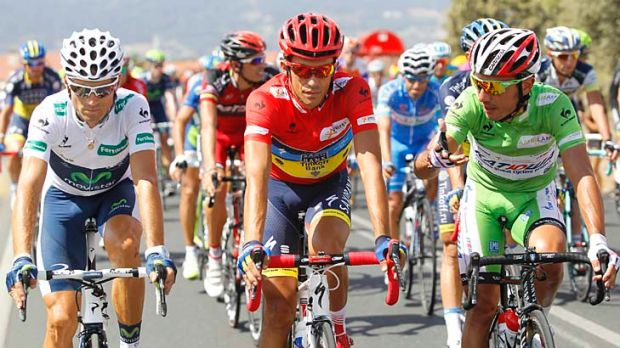 """Alberto Contador (centre) with Alejandro Valverde (left) and Joaquim """"Purito"""" Rodriguez during the 21st stage of the ..."""
