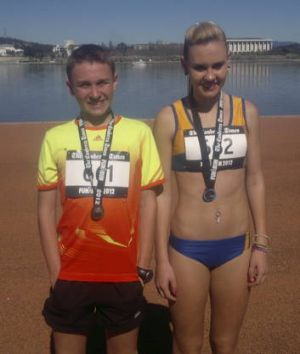 Joshua Torley, 13, and his sister, Nicola, 15, after finishing yesterday's race.