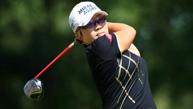 Jiyai Shin hits a tee shot on the 11th hole during the final round of the Kingsmill Championship.
