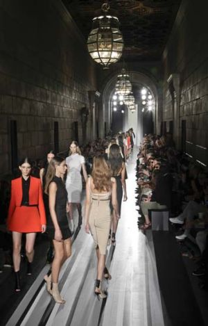 Fashion from the Spring 2013 collection of Victoria Beckham is modeled in New York.