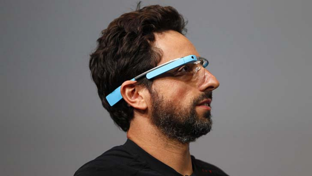Google's Sergey Brin shows off Google Glass earlier this year.