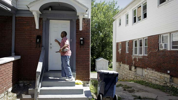 Myron T. Moore went door to door on Saturday in Ivanhoe to sign up residents.