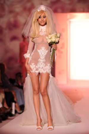 Zahia Dehar walks the runway during the Zahia Couture show as part of Paris Fashion Week.