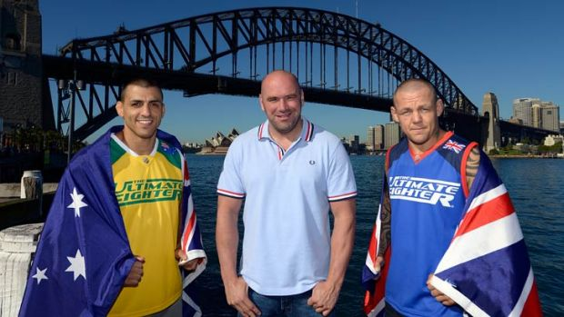 UFC president Dana White (centre) with the coaches of The Ultimate Fighter: The Smashes, Australia's George Sotiropoulos ...