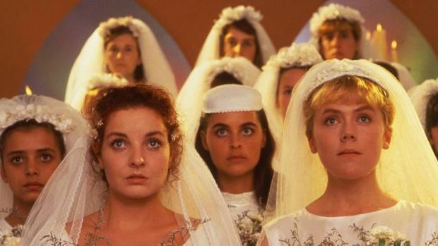 Josephine Byrnes (above left) and Lisa Hensley (above right) in <i>Brides of Christ</i>.