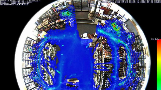 A screen shot of Mobotix retail cam heat map showing in-store traffic.