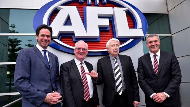 AFL chief operating officer Gillon McLachlan, Saints President Greg Westaway, Wellington City Councillor John Morrison ...