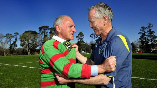 Rabbitohs supporter Bishop Pat Power and Raiders supporter Monsignor John Woods will clash this weekend with the Raiders ...