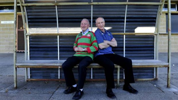 Rabbitohs supporter, Bishop Pat Power and Raiders supporter Monsignor John Woods will clash this weekend with the ...