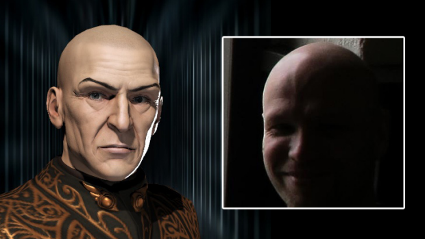 """Remembered ... Sean Smith's computer-generated avatar as """"Vile Rat"""" in """"EVE Online""""; inset, Sean Smith."""