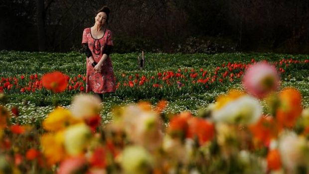 Fashion designer Leona Edmiston is the face of Floriade for this year amongst the flowers today