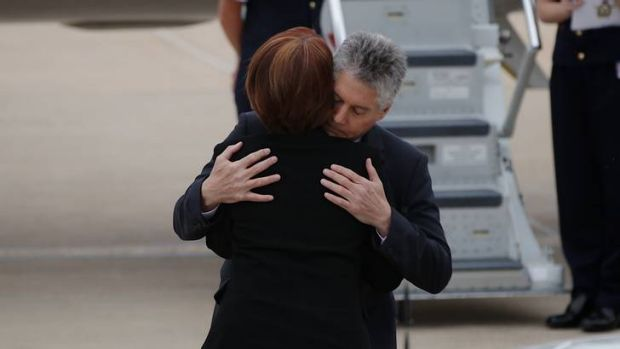 Prime Minister Julia Gillard and Defence Minister Stephen Smith attend the funeral of Private Nathanael Galagher.