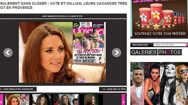 "Closer's website promoting the Duchess of Cambridge ""exclusive""."