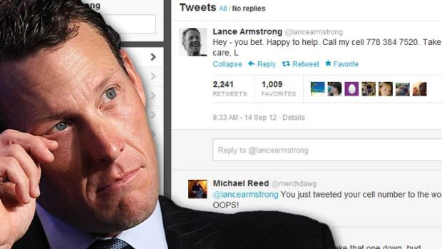 Lance Armstrong, and the tweet that has social media users scratching their heads.