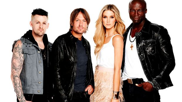 Urban (second from left) with Joel Madden, Delta Goodrem and Seal, his fellow coaches from the first Australian season ...