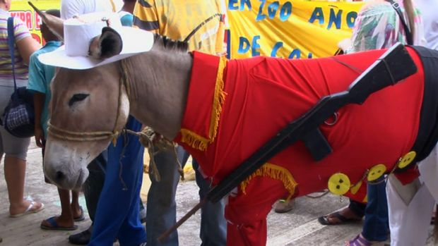 A donkey in costume in a still from the film Donkey Love