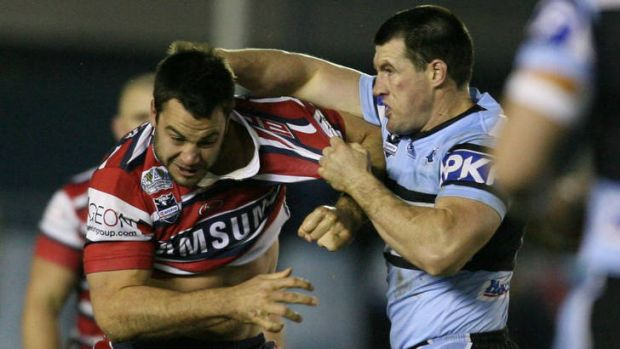 Paul Gallen and David Shillington come to blows during a match in 2008.