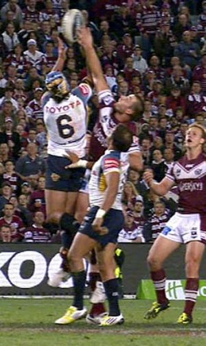 Season-defining moment ... Michael Oldfield touched down after Kieran Foran's knock-on.