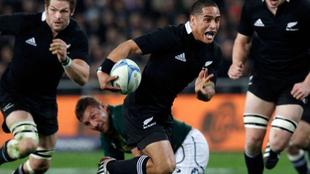 Prodigal son ... replacement halfback Aaron Smith scores the match-sealing try after being dumped from the starting ...