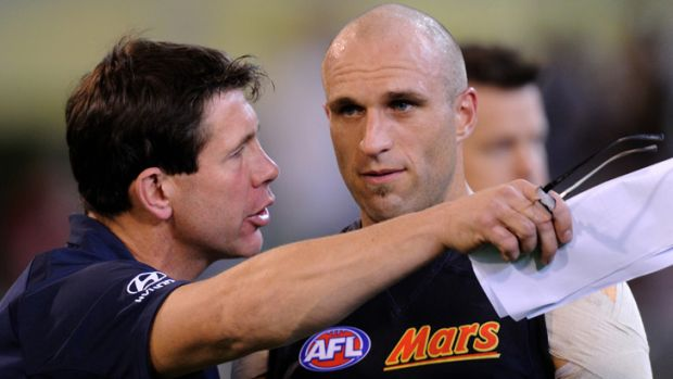 Two Blues: Brett Ratten (left) and Chris Judd.