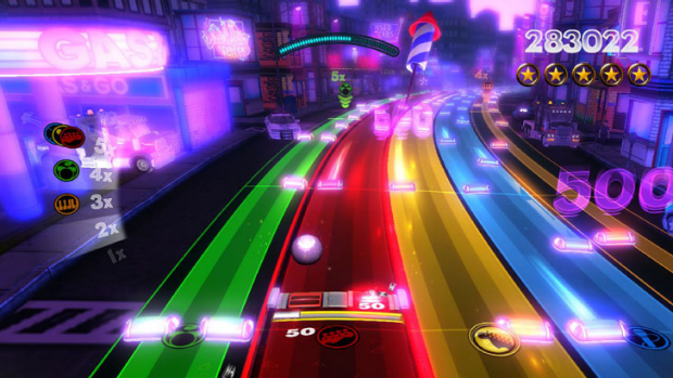 Rock Band Blitz comes with 25 songs and is compatible with the entire Rock Band library.