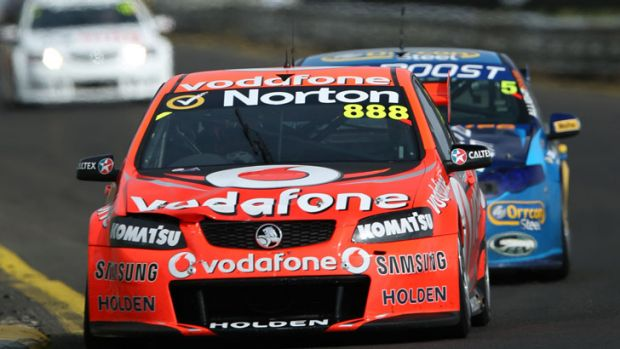 On track: The winning Craig Lowndes/Warren Luff Commodore at yesterday's Sandown 500.