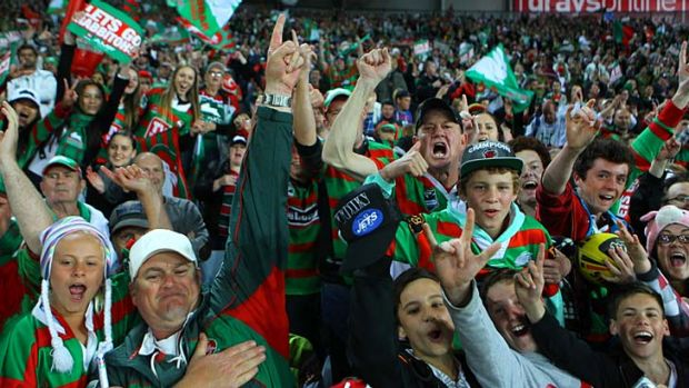 Ecstatic ... the Rabbitohs fans, who could be heard singing throughout the match, celebrate the 38-16 win against the ...