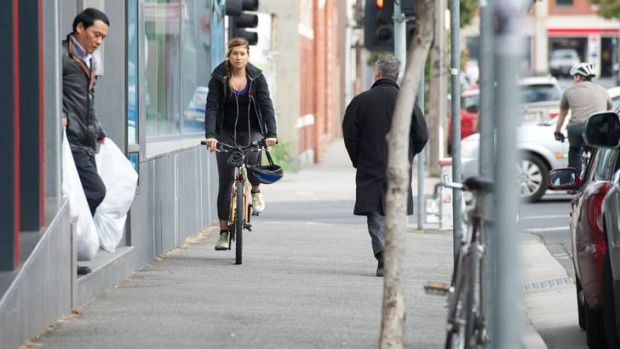 Cyclist numbers along Wellington Street, Collingwood, have been rising 20 per cent every year since 2004.