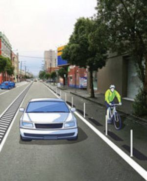 An artist's impression of the proposed bike lanes.