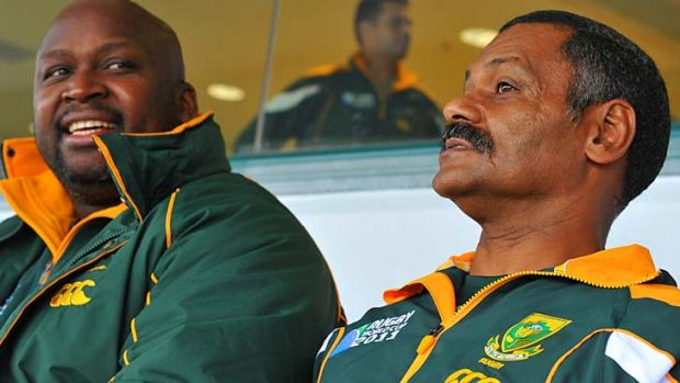 Peter de Villiers (R) with former Springboks analyst Peter Maimane at the World Cup last year. Maimane died last week ...