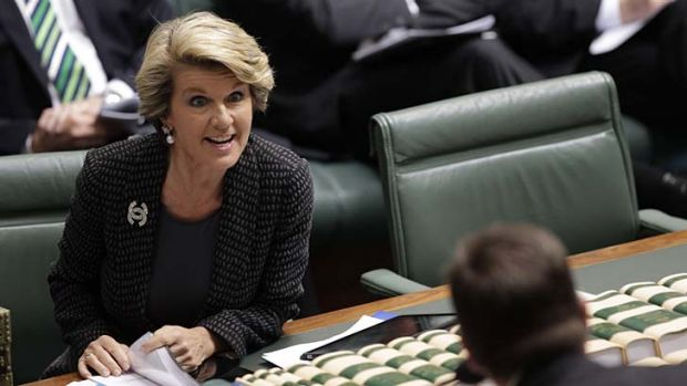 I can't hear you ... a revved-up Julie Bishop butts in as the Immigration Minister, Chris Bowen, speaks.