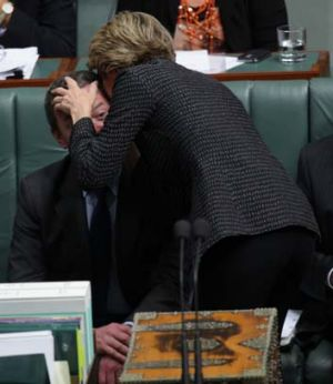 "Prop ... Bishop ""talks through"" Christopher Pyne."