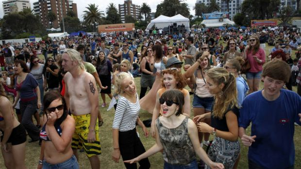Crowds enjoy the Festival Sunday during this year's St Kilda Festival.