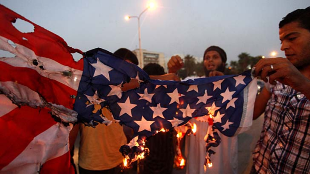 Libyans protest the film ridiculing the Prophet Muhammad.