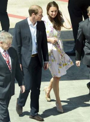 Prince William and Catherine, Duke and Duchess of Cambridge, arrive  in Brisbane on their way to England after visiting ...