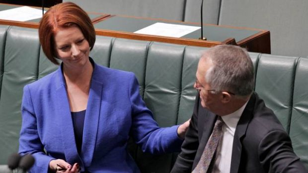 Opposition communications spokesman Malcolm Turnbull offers his condolences to Prime Minister Julia Gillard yesterday.